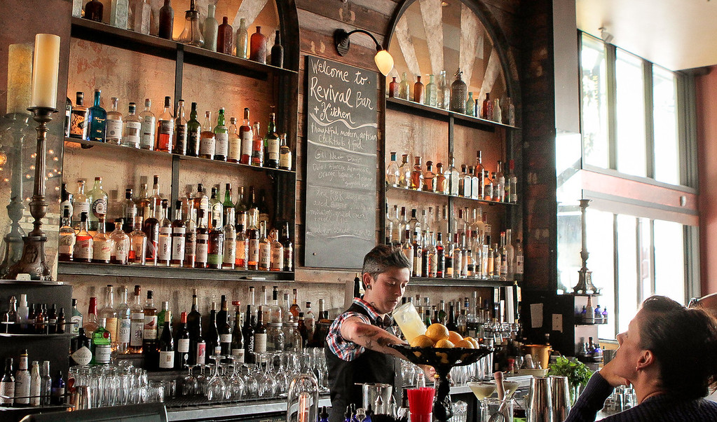 The bar at Revival Bar & Restaurant in Berkeley, Calif., is seen on Wednesday, July 25th, 2012.
