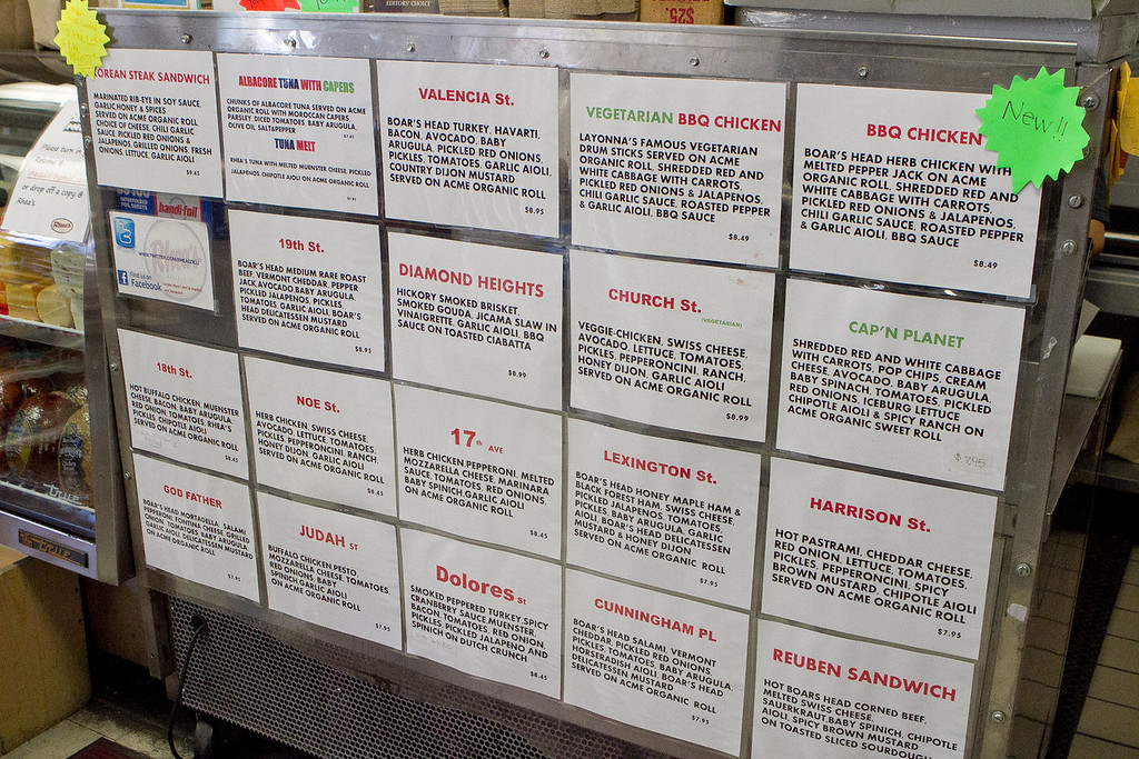 The menu at Rhea's Deli in San Francisco, Calif., is seen on Wednesday,  June 6th, 2012.