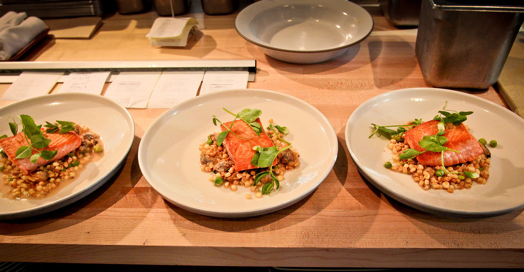 King Salmon with Corn, Peas, and Clams at Rich Table in San Francisco is seen on Wednesday, September 19th, 2012.