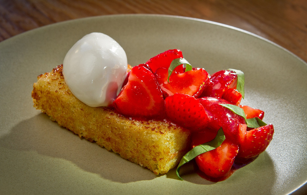 The Olive Oil Cake with Strawberries at Rich Table in San Francisco is seen on Wednesday, September 19th, 2012.