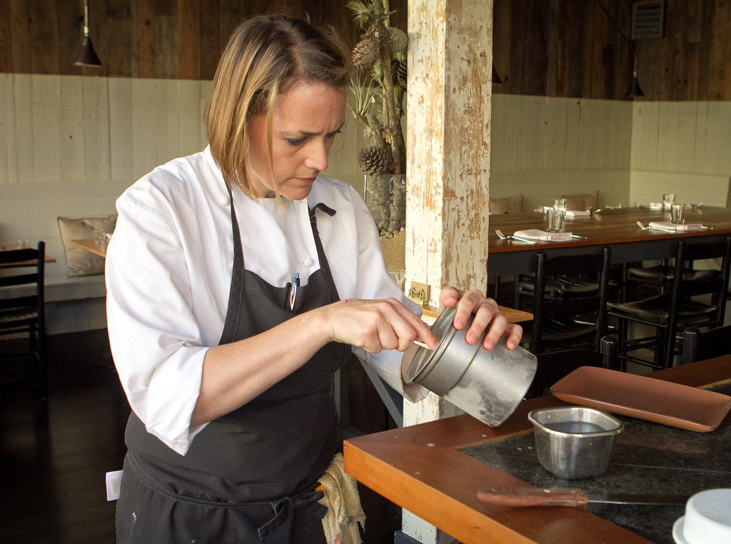sarah Rich scoops ice cream for her dessert at Rich Table in San Francisco on Wednesday, September 19th, 2012.