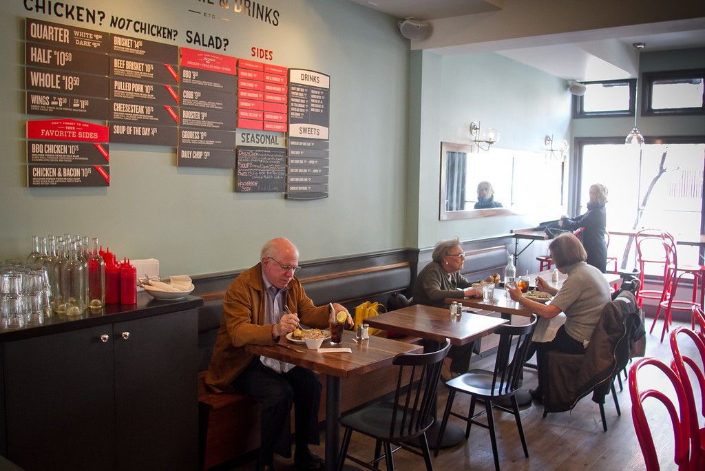 People enjoy lunch at Roostertail Restaurant in San Francisco Calif., on Thursday, March 1st, 2012.