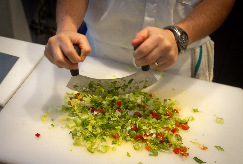 The chopped salad being prepared at Roostertail Restaurant in San Francisco Calif., on Thursday, March 1st, 2012.