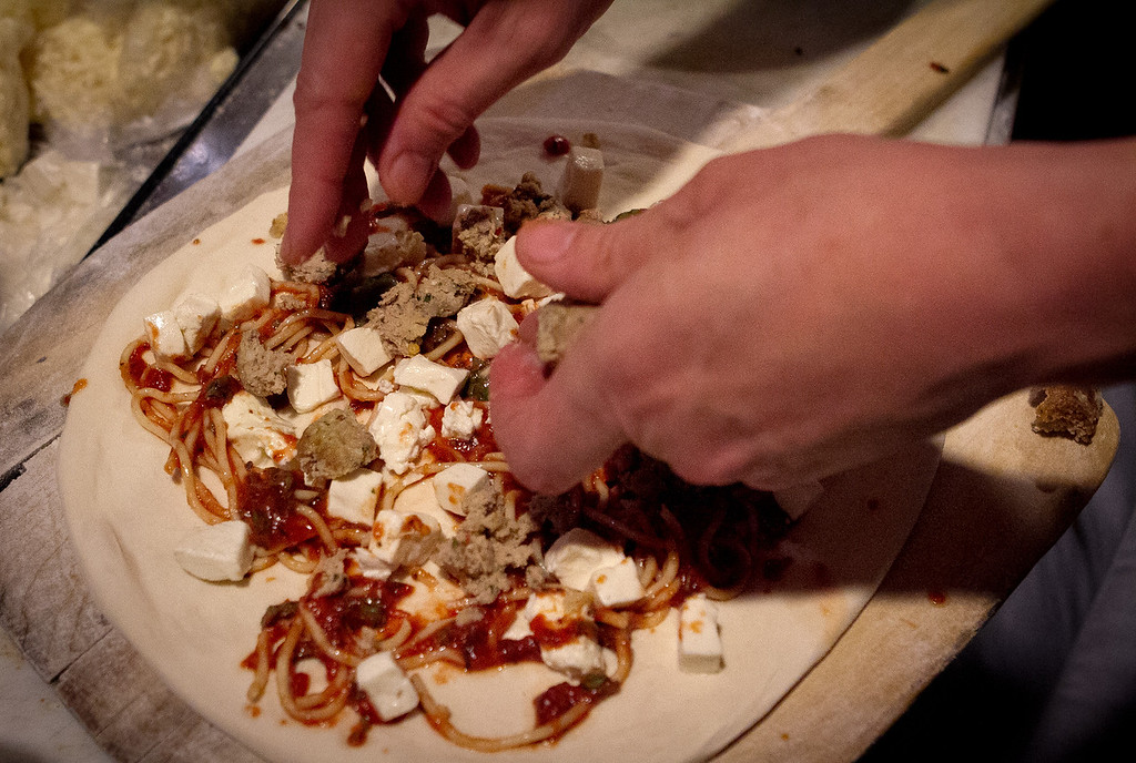 "The ""Goomba"" pizza being made at Rosso Pizzeria in Santa Rosa, Calif., on Saturday, February 18th, 2012."