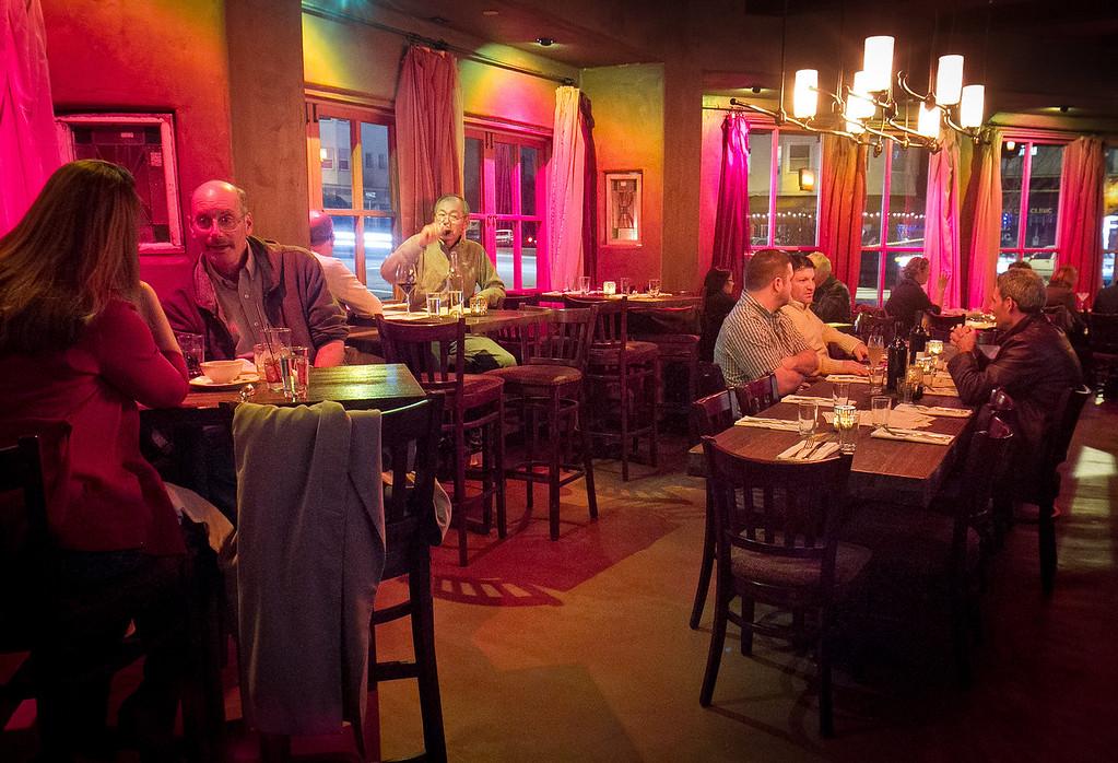 Diners enjoy dinner at Rumbo al Sur Restaurant in Oakland, Calif., on Thursday, January 26th, 2012.