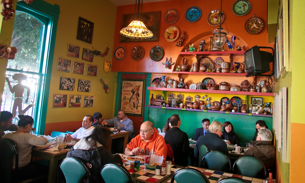 Diners enjoy lunch at San Jalisco restaurant in San Francisco on Thursday, January 10th, 2012.
