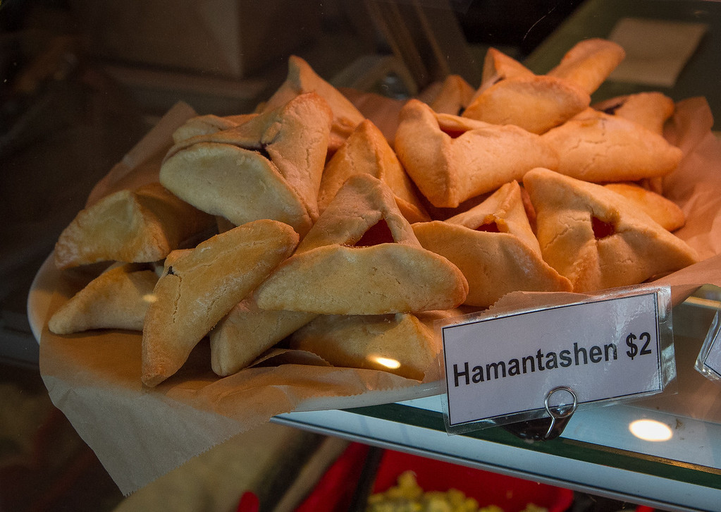 Hamantashen in a case at Saul's Deli in Berkeley, Calif. are seen on Thursday, January 31st, 2013