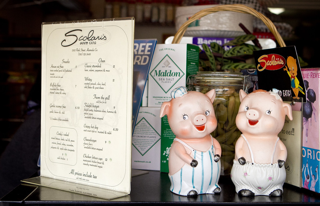 Two happy pigs at Scolari's Good Eats  in Alameda, Calif., are seen on Friday, June 29th, 2012.