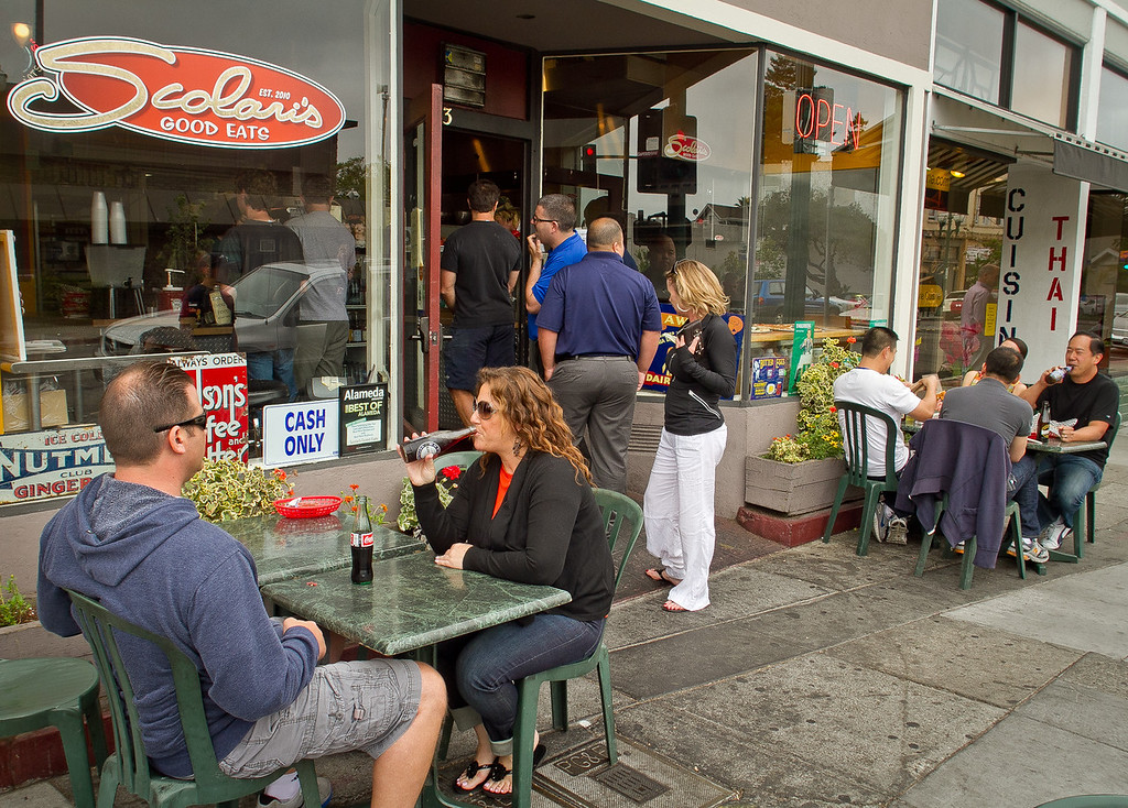 Diners enjoy lunch outside at Scolari's Good Eats  in Alameda, Calif., on Friday, June 29th, 2012.