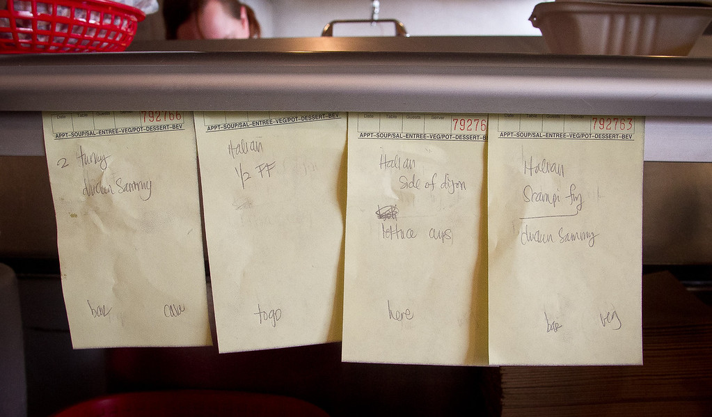 Orders waiting to be filled at Scolari's Good Eats  in Alameda, Calif., on Friday, June 29th, 2012.