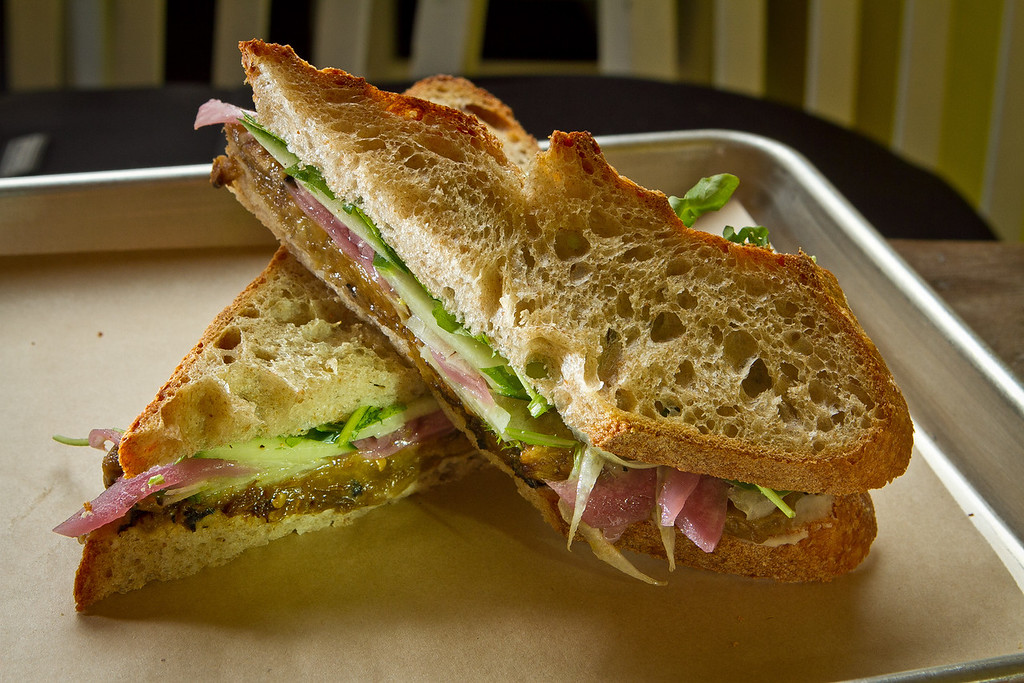 The Roasted Eggplant sandwich at Slow Restaurant in Berkeley, Calif., is seen on Wednesday May 9th, 2012.