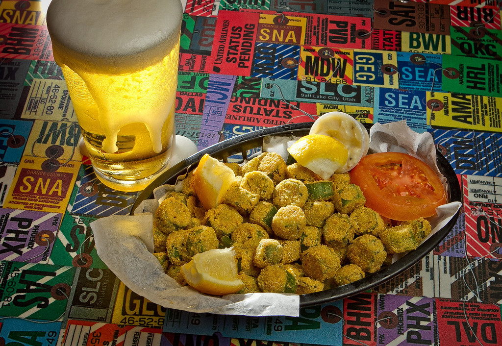 The fried Okra with a beer at Souley Restaurant in Oakland, Calif. is seen on March 23rd, 2012.