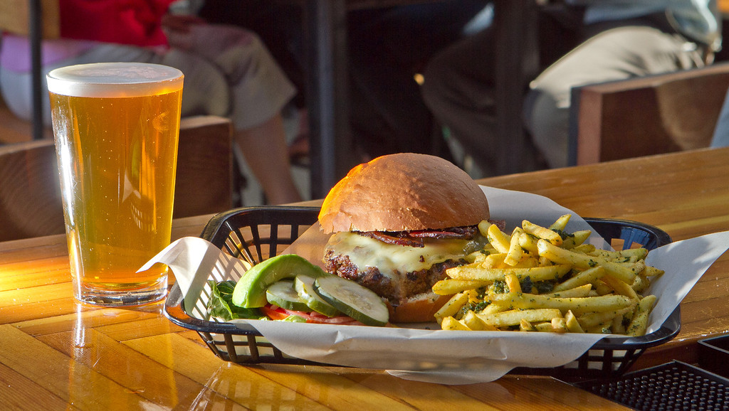 The House Burger with an IPA at the Southern Pacific Brewing Company in San Francisco, Calif., is seen on Wednesday, June 13th, 2012.