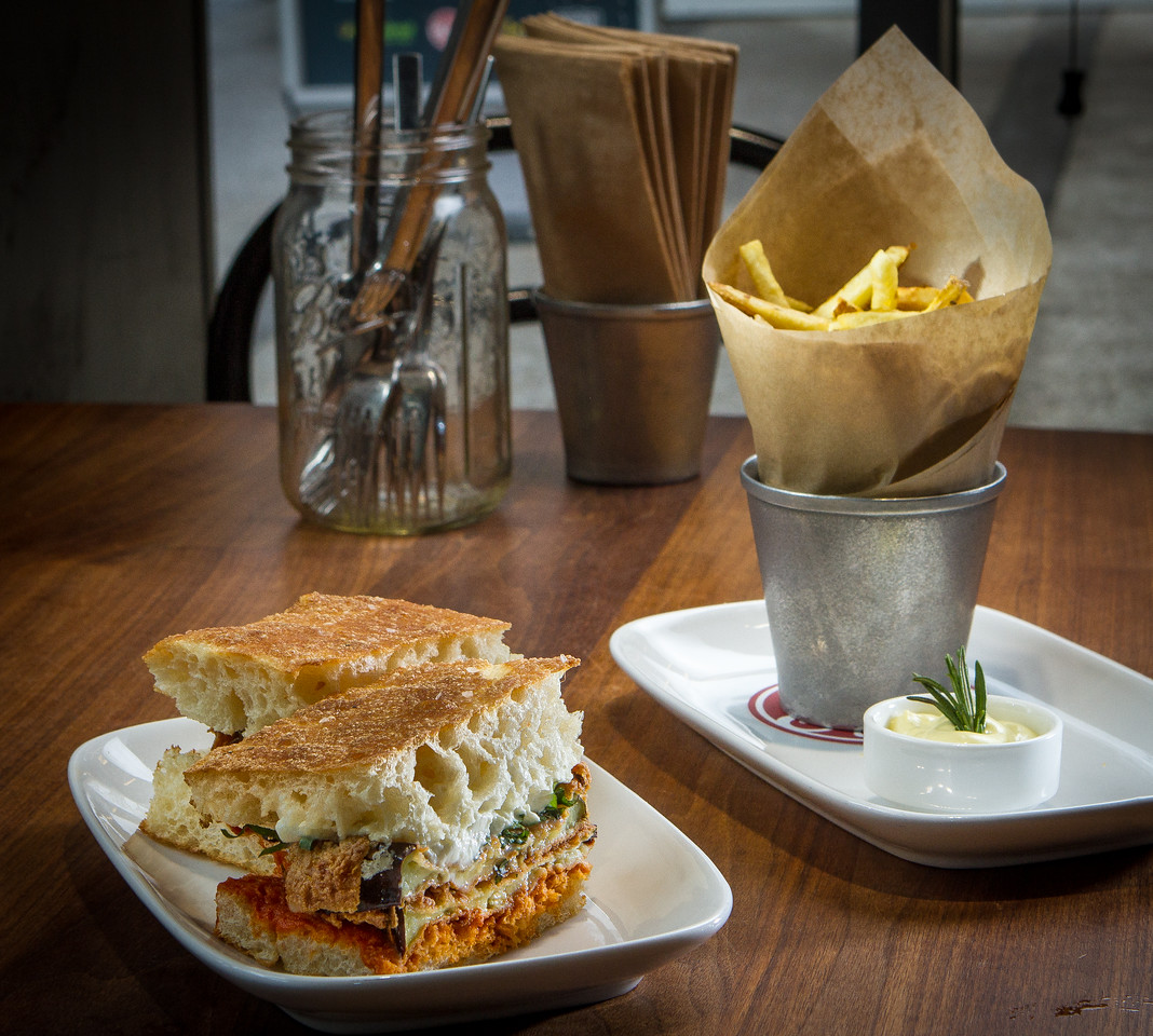 The Crispy Eggplant sandwich with Fries at Split Bread in San Francisco, Calif., is seen on Friday, November 30th, 2012.