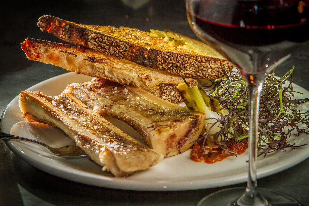 The Bone Marrow with a glass of the 2007 Cavas Cooperatives Donnas, Nebbido from Vallee d'Aosle, Italy at St. Vincent restaurant in San Francisco, Calif., is seen on Friday, December 7th, 2012.