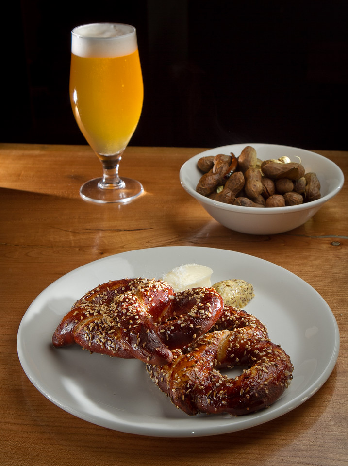The Soft Pretzel, Peanut Boil and a beer at St. Vincent restaurant in San Francisco, Calif., are seen on Thursday, July 12th, 2012.