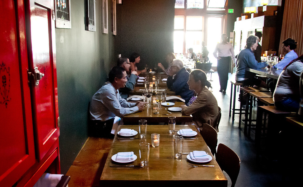 People have dinner at St. Vincent restaurant in San Francisco, Calif., on Thursday, July 12th, 2012.
