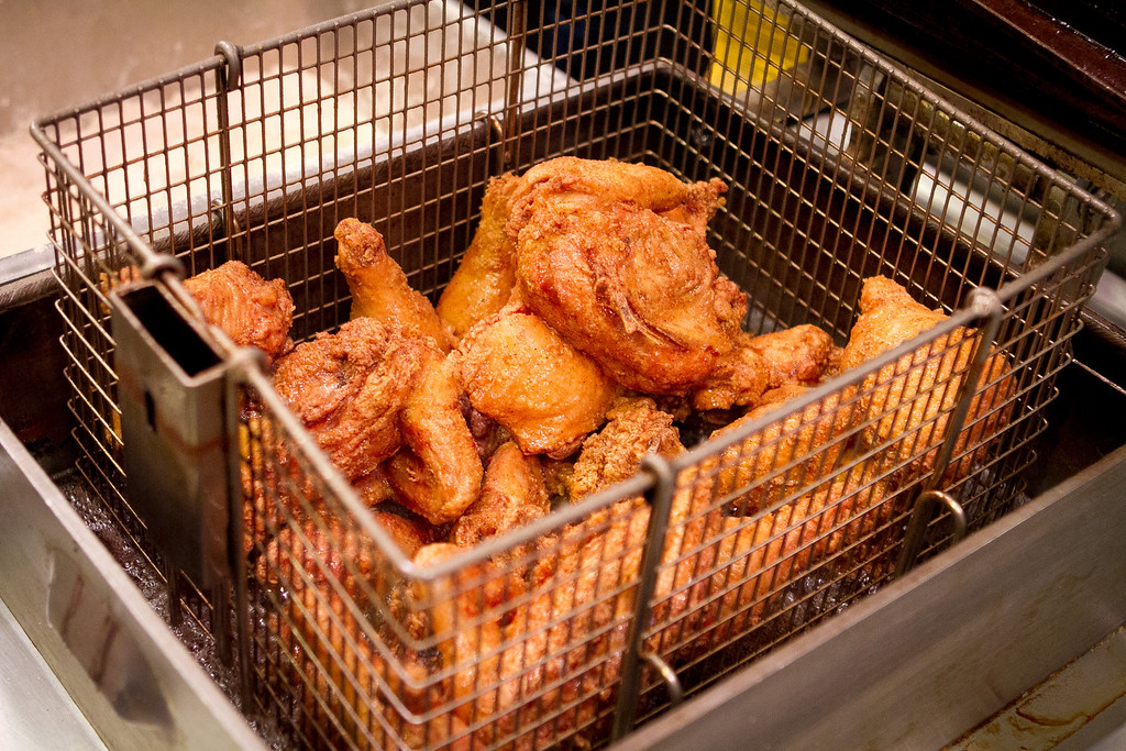 Fried Chicken fresh from the fryer at Sweet T's Restaurant in Santa Rosa, Calif., is seen on Monday, January 23rd, 2012.