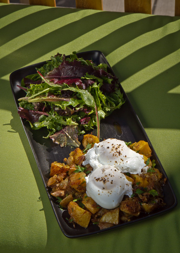 The Spicy Duck Hash with Poached Eggs at Sweetwater Cafe in Mill Valley, Calif., is seen on Saturday, June 30th, 2012.
