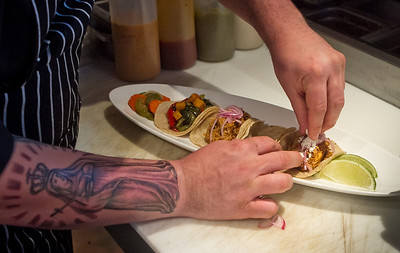 Chef Telmo Faria prepares tacos at Tacolicious in San Francisco Calif., on Monday, March 5th, 2012.