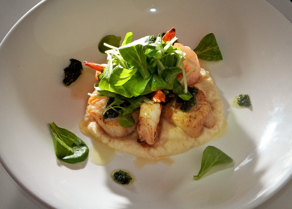 The Diver Prawns and Diver Scallops at Tarla Mediterranean Grill in Napa,  Calif., is seen on Friday, March 9th, 2012.