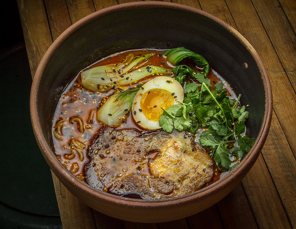 The spicy Tantanmen with ground Pork Belly, marinated Egg, Bok Choy and Cilantro at the Ramen Shop in Oakland, Calif. is seen on Friday, February 15th, 2013.