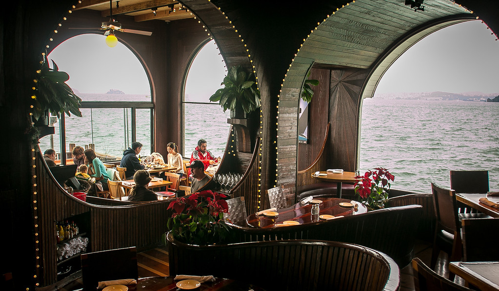 Diners enjoy lunch at the Trident restaurant in Sausalito, Calif. on Saturday, December 15th, 2012.