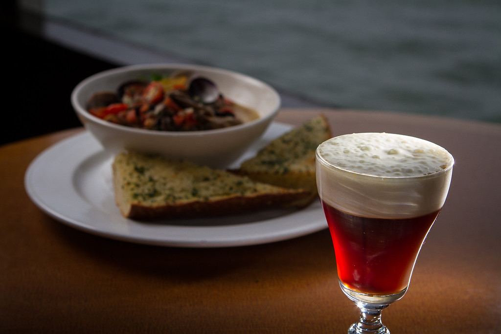 The Buena Vista Irish Coffee with the steamed Clams at the Trident restaurant in Sausalito, Calif. is seen on Saturday, December 15th, 2012.