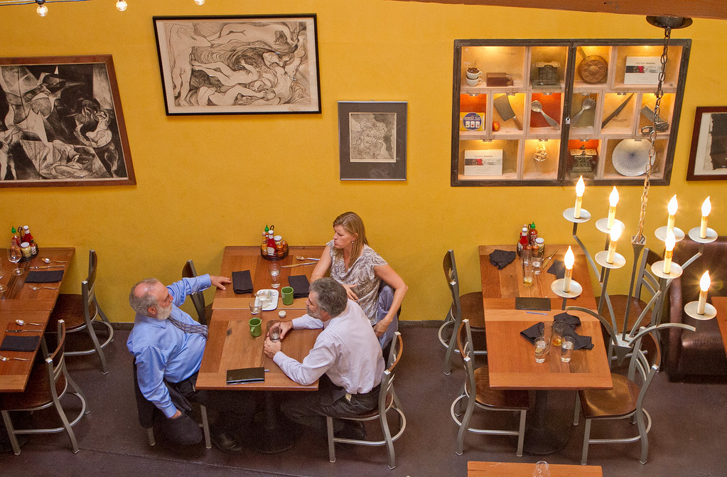 People enjoy lunch at the Three Squares Cafe in Santa Rosa, Calif., on Friday, October 26th, 2012.