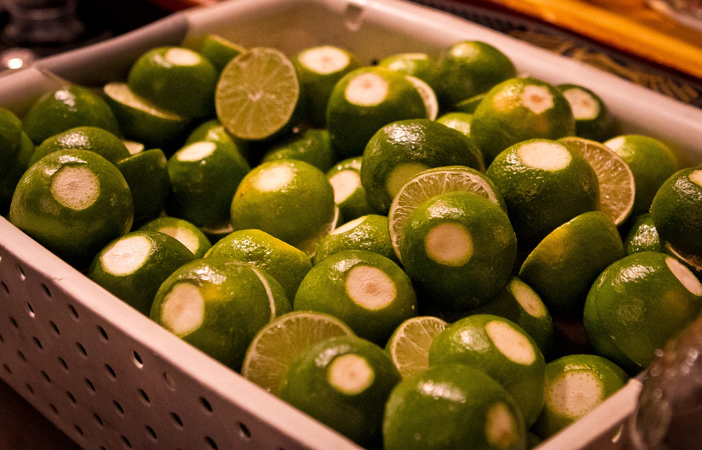 Limes waiting to be squeezed at Tommy's Mexican Restaurant in San Francisco, Calif., are seen on Monday April 23rd, 2012.