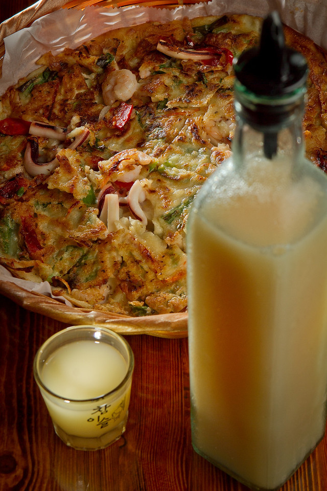 The Seafood Pancake with the Yogurt Soju at Toyose restaurant in San Francisco, Calif., is seen on Wednesday, July 17th, 2012.