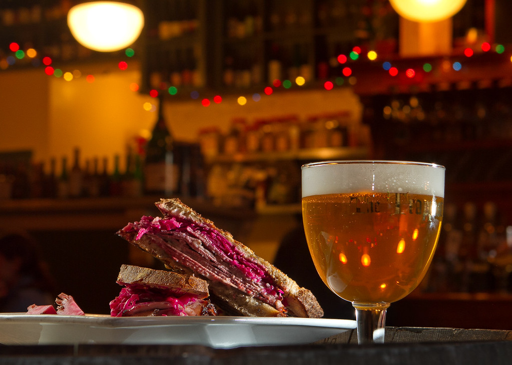 The Pastrami sandwich with a draft beer at Trappist Bar in Oakland, Calif.,  is seen on Tuesday, December 20th,  2011.