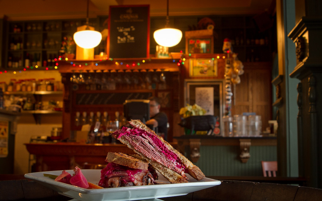 The Pastrami sandwich at Trappist Bar in Oakland, Calif.,  is seen on Tuesday, December 20th,  2011.