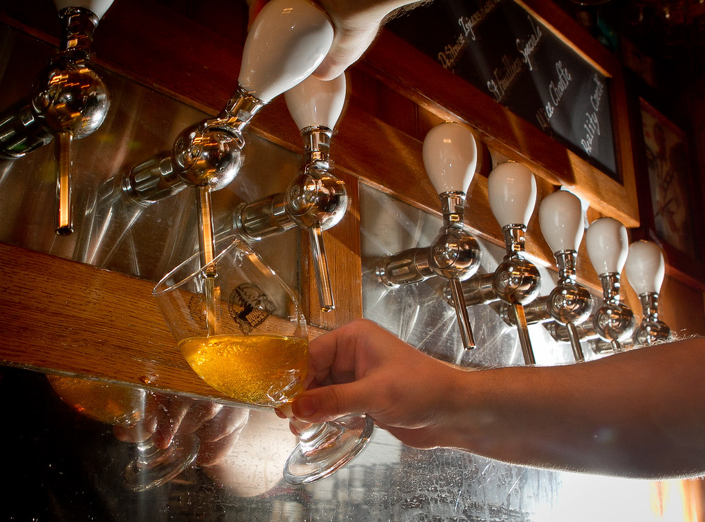 Beer being poured from the tap at Trappist Bar in Oakland, Calif., on Tuesday, December 20th,  2011.