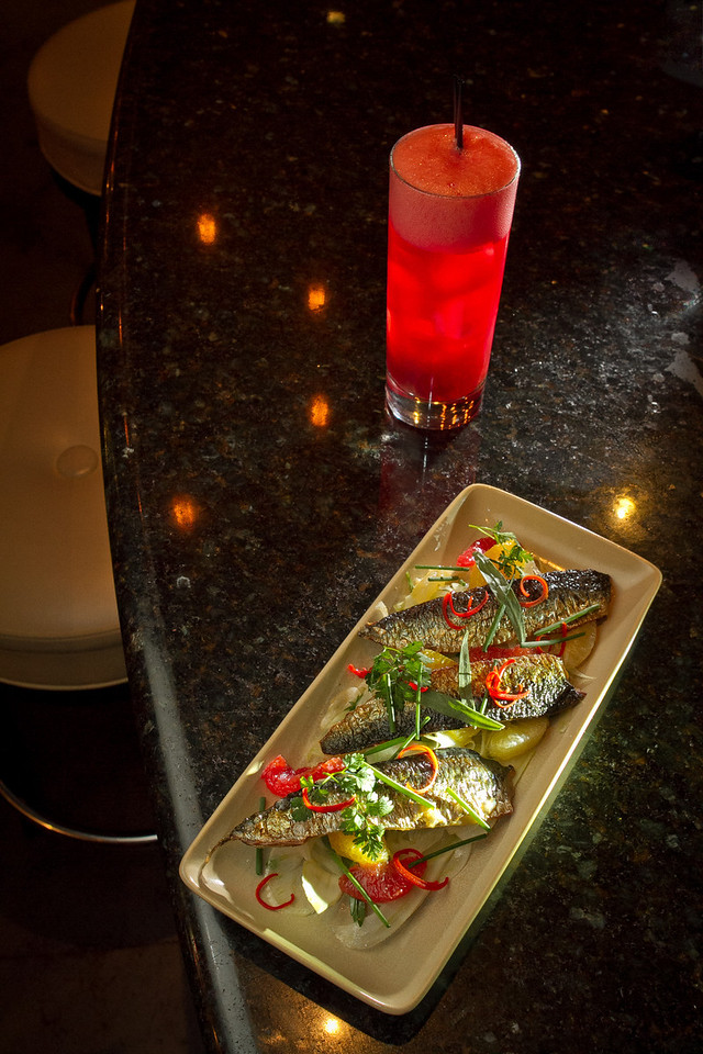 """The Grilled Local Sardines with the """"Red Dawn"""" cocktail at Txoko Restaurant in San Francisco, Calif., is seen on Wednesday, January 25th, 2012."""