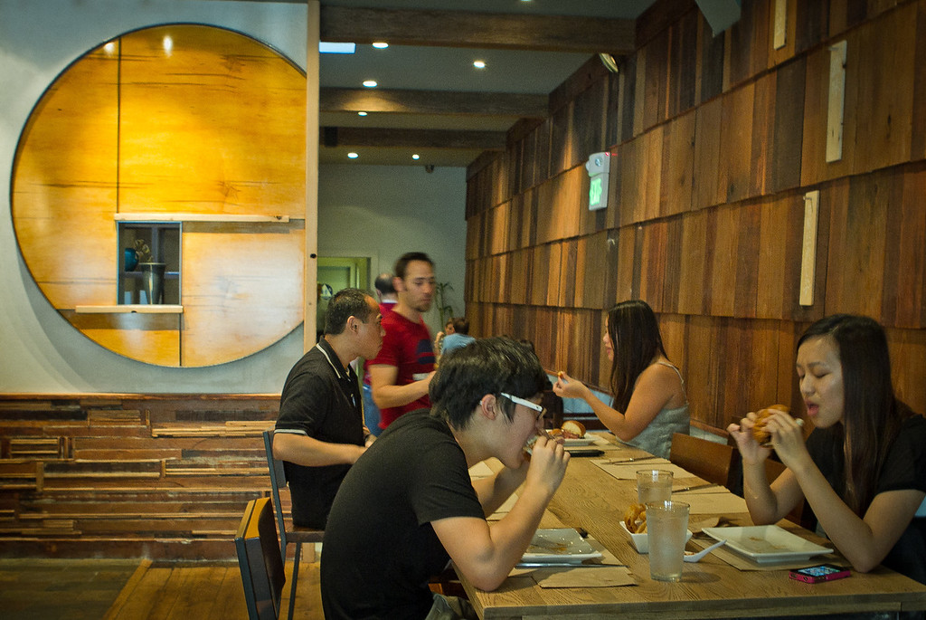 Diners enjoy lunch at Umami Burger in San Francisco, Calif., on Wednesday,  October 12, 2011.
