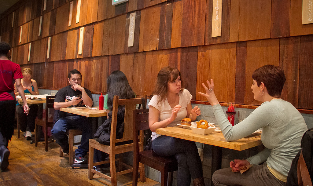 Diners enjoy lunch at Umami Burger in San Francisco, Calif., on Sunday, January 8th,  2012.