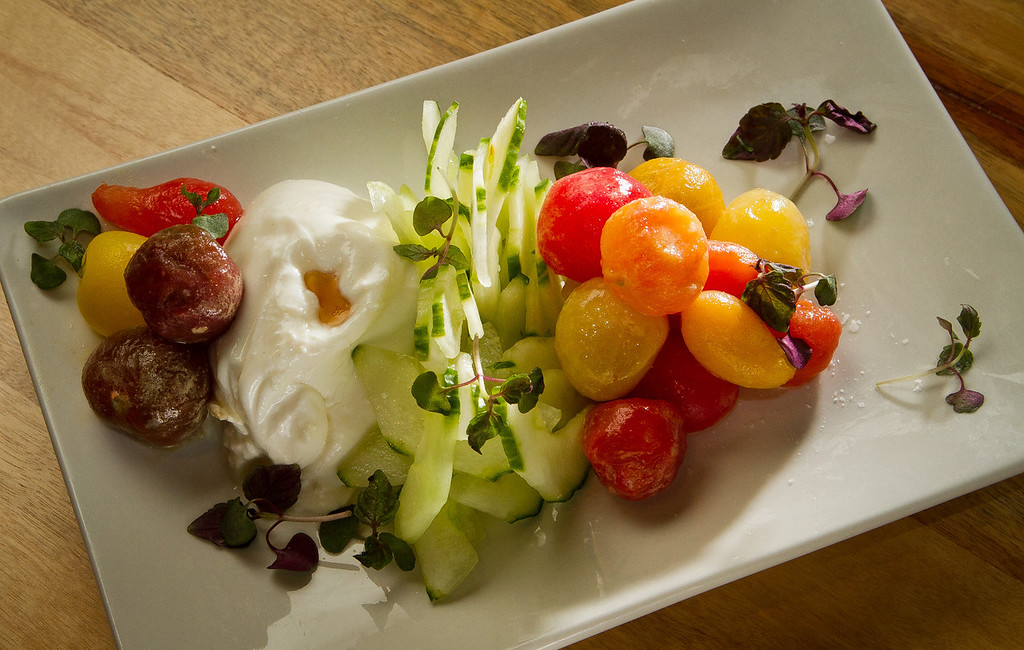The Japanese Caprese Salad at Umami Burger in San Francisco, Calif., is seen on Wednesday,  October 12, 2011.