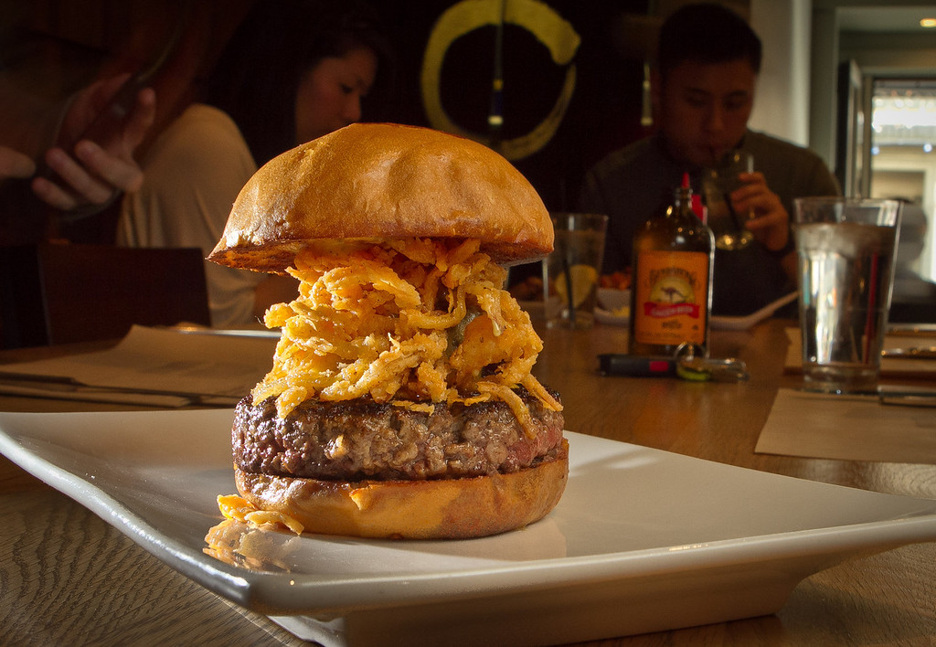"""The """"Manly"""" Burger at Umami Burger in San Francisco, Calif., is seen on Sunday, January 8th,  2012."""