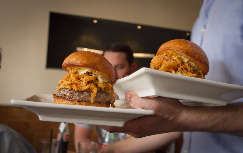 "A couple of ""Manly Burgers"" being served at Umami Burger in San Francisco, Calif., on Wednesday,  October 12, 2011."