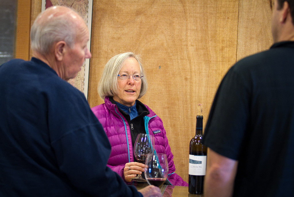 Winemaker Cathy Corison talks with Larry Wollert 1 and Larry Wollert 2 at her winery in St. Helena, Calif., on Friday, December 16, 2011.