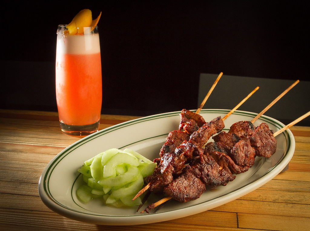 "The grilled Lamb Skewers with the ""Mescal por mi Amante"" cocktail at Wo Hing General Store in San Francisco, Calif., is seen on Wednesday, October 27,  2011."