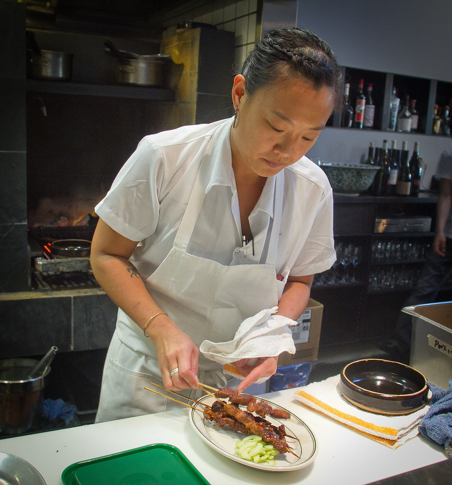 Chef Michelle Mah prepares the Lamb Skewers at Wo Hing General Store in San Francisco, Calif., on Wednesday, October 27,  2011.