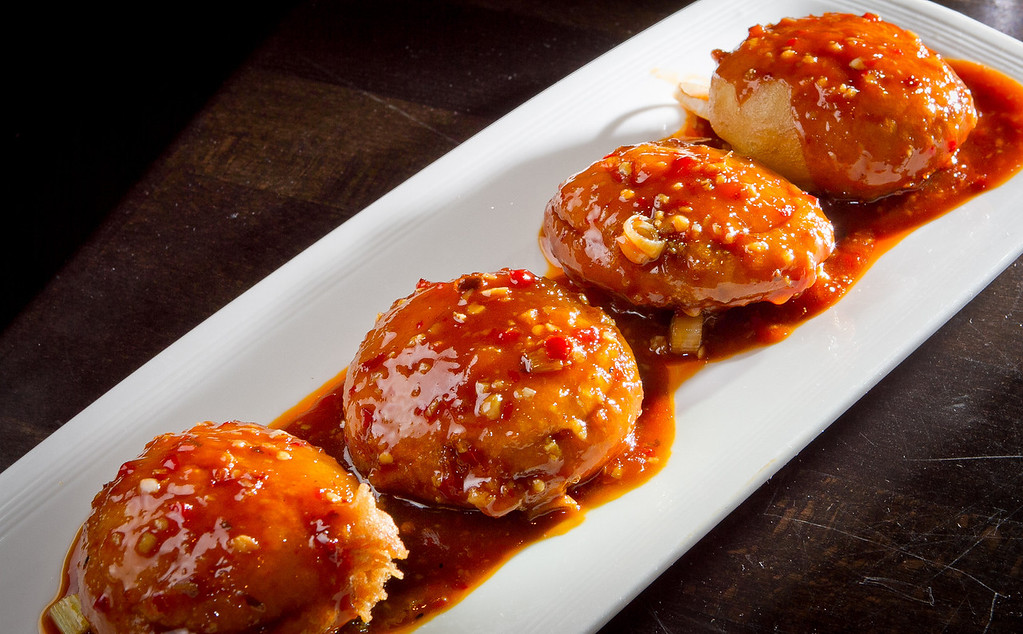 The stuffed crispy Chinese Eggplant at Yiping restaurant in San Ramon is seen on Wednesday, September 12th, 2012.