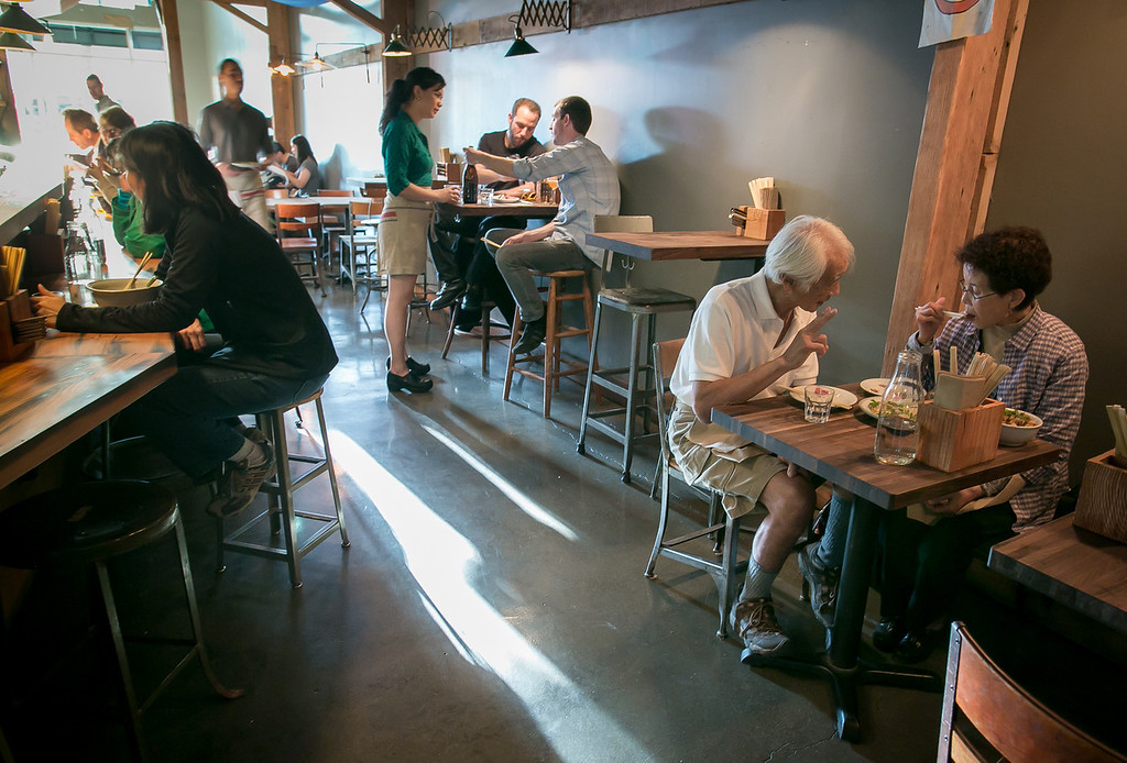 Diners enjoy dinner at the Ramen Shop in Oakland, Calif. on Friday, February 15th, 2013.