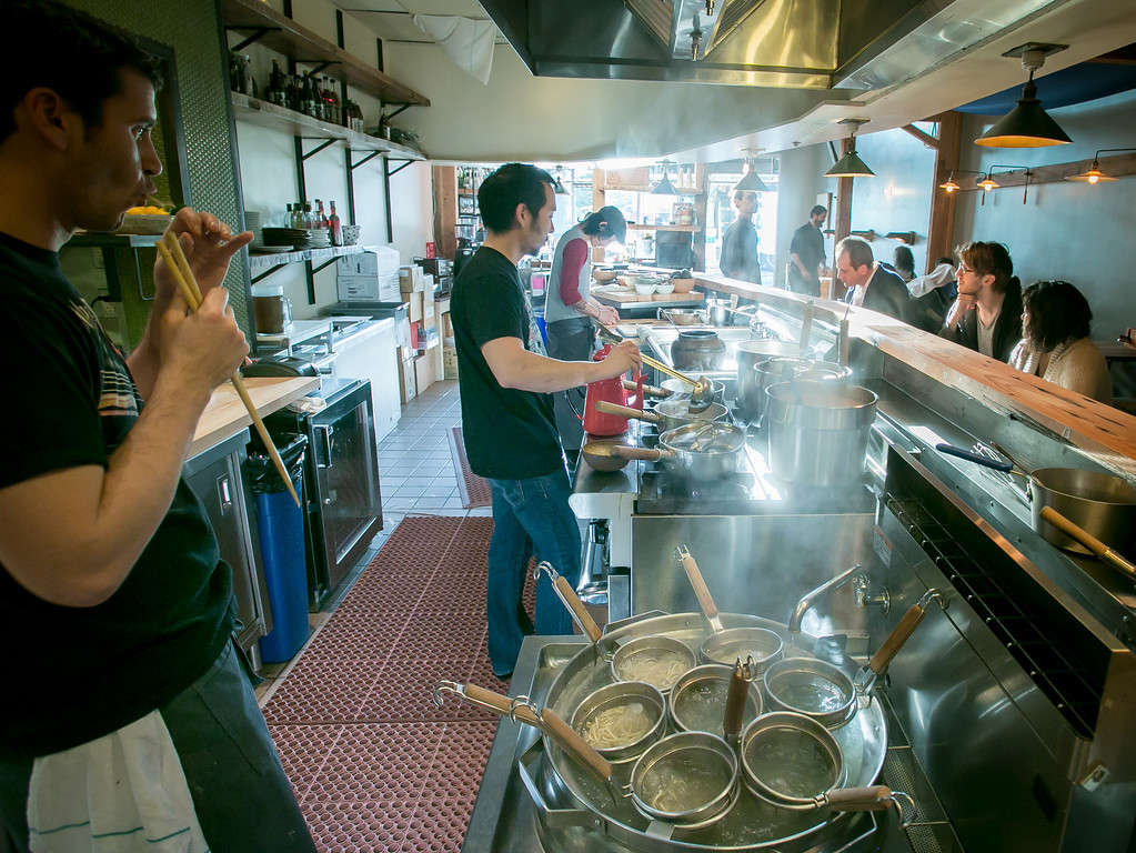 Chef Jerry Jaksich tastes a noodle to check the Ramen for doneness at the  Ramen Shop in Oakland, Calif. on Friday, February 15th, 2013.