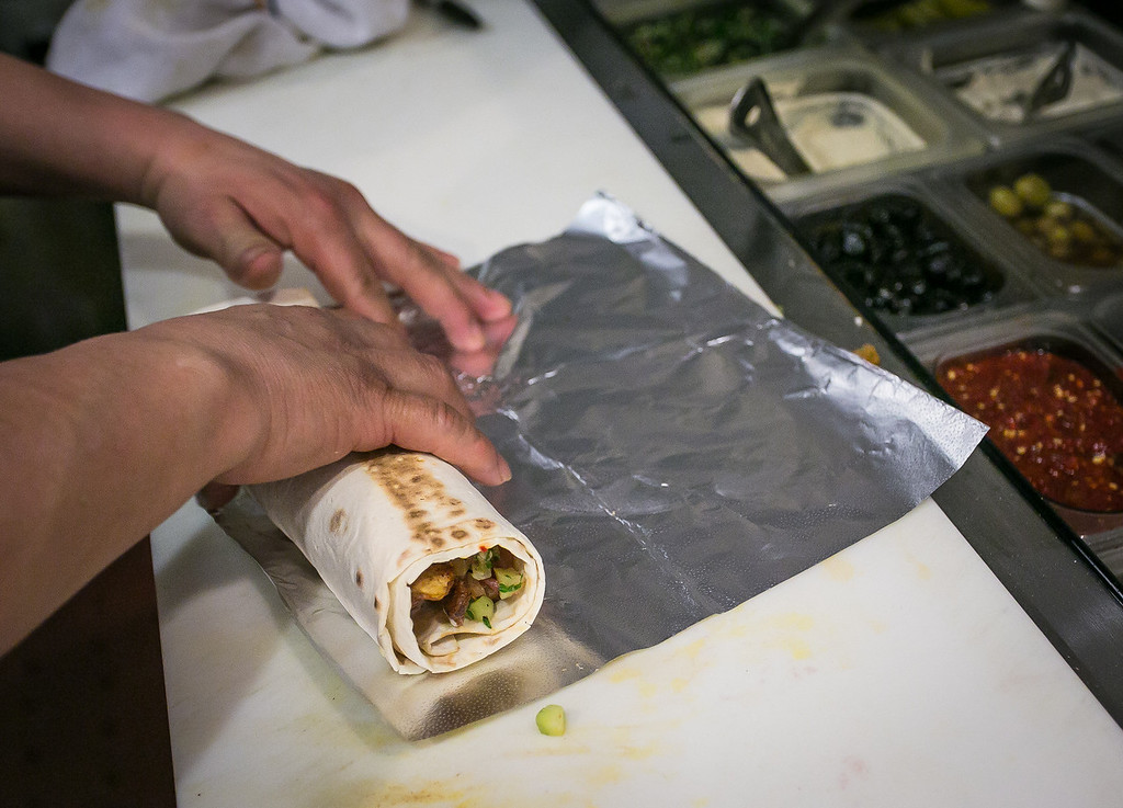 A Lamb Sharwerma wrap being rolled at Zaytoon Restaurant in San Francisco, Calif. on Friday, February 15th, 2013.