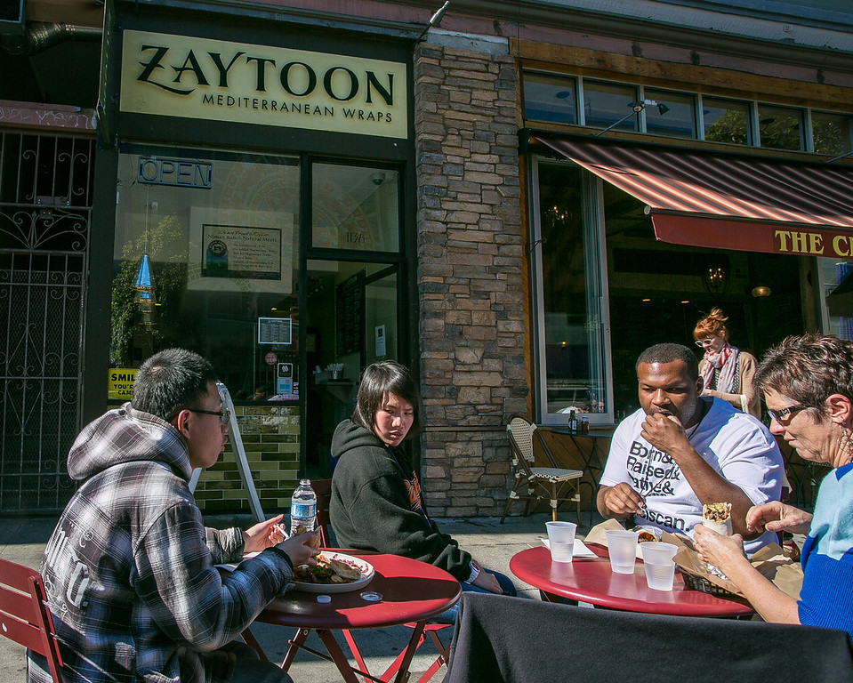 People enjoy lunch at Zaytoon Restaurant in San Francisco, Calif. on Friday, February 15th, 2013.