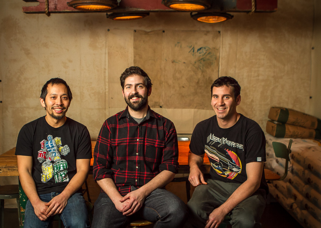 Owners of the Ramen Shop, left to right; Rayneil De Guzman, Sam White and Jerry Jaksich in Oakland, Calif. are seen on Friday, February 15th, 2013.