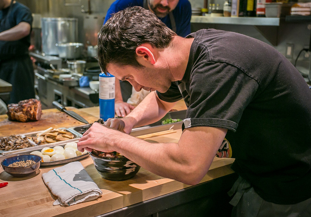 Chef Jerry Jaksich makes a bowl of Ramen at the Ramen Shop in Oakland, Calif. on Friday, February 15th, 2013.
